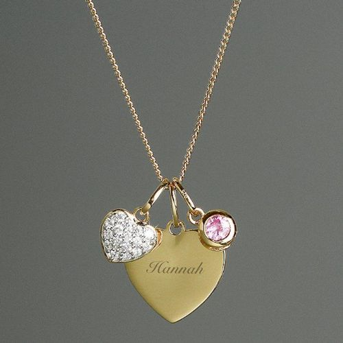 Sterling Silver & 9ct Gold Heart Name Necklace